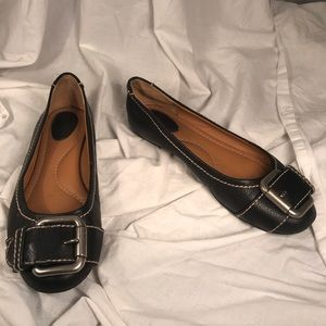 Fossil Black Leather Flats